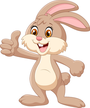 Cartoon rabbit giving thumbs up Stock Illustratie