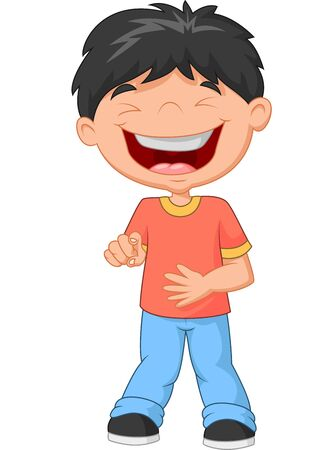 laughing: Cartoon Little boy laughing and pointing Illustration