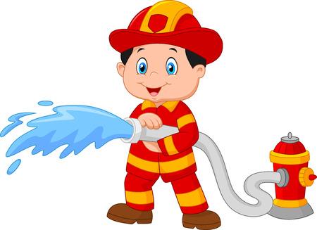 漫画の消防士が消火ホースから注ぐ