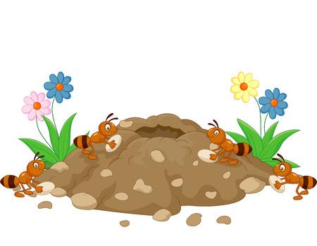 petites fleurs: Anthill Cartoon dans la terre de la forêt