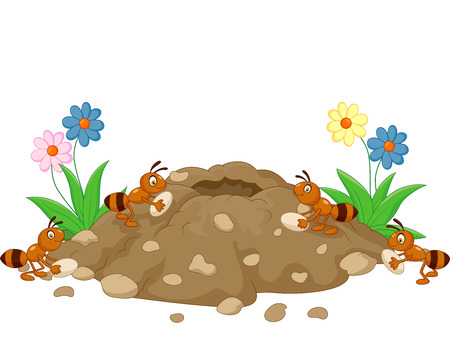 cartoon ant: Cartoon Anthill in the forest land Illustration