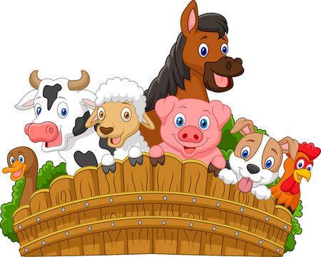 Collection farm animals cartoon Illustration