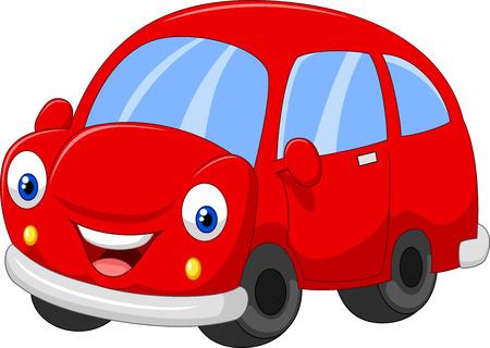 carritos de juguete: Coche rojo lindo de la historieta Vectores