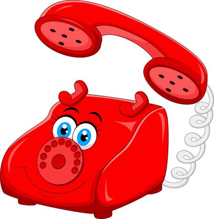 telephone cartoon: Cartoon Red Old Retro Rotary Telephone