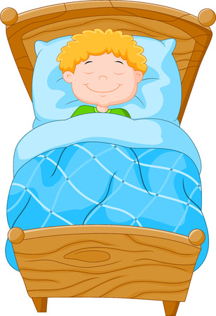 child sleeping: Cartoon little boy fell asleep