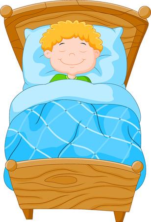 kid vector: Cartoon niño se quedó dormido Vectores