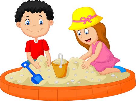kid vector: Los niños de juego de dibujos animados en la construcción de una decoración de castillos de arena de playa