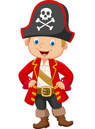 boys happy: Cartoon little boy pirate captain