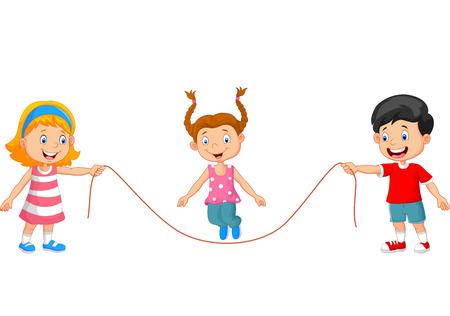 saltar la cuerda: Historieta Jugar saltar la cuerda Vectores