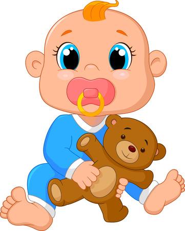 De dibujos animados bebé que sostiene un oso de peluche