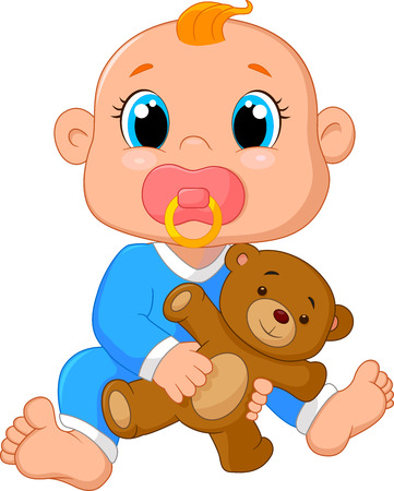 Baby cartoon holding a teddy bear