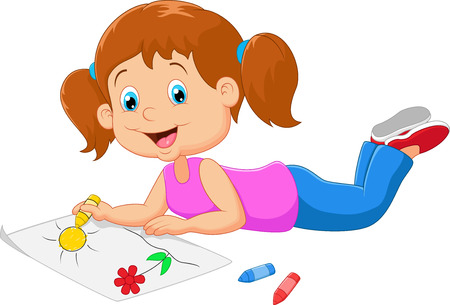 Cartoon small beautiful girl paints on paper Vectores