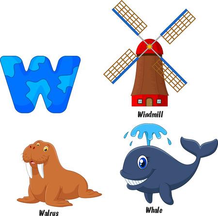 walrus: Cartoon W alphabet