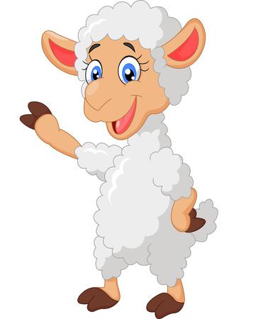 Cartoon sheep waving hand Çizim