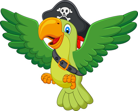 green cute: Cartoon pirate parrot Illustration