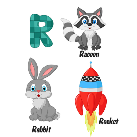 racoon: Cartoon R alphabet Illustration