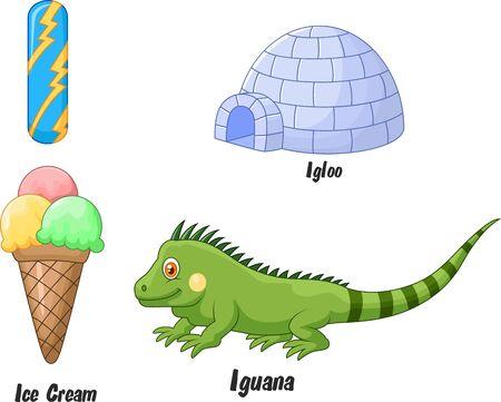 ice alphabet: Cartoon I alphabet