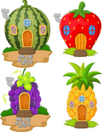 Cartoon variety of home fruit