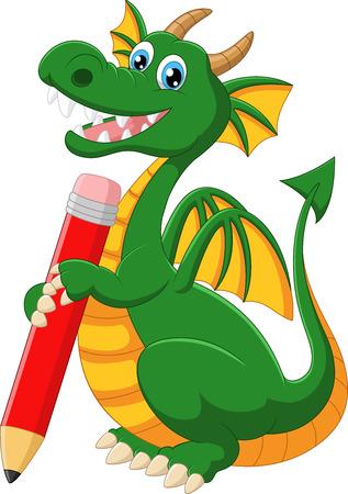 green dragon: Cartoon green dragon holding red pencil
