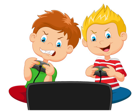 Little boys cartoon playing video game Vectores