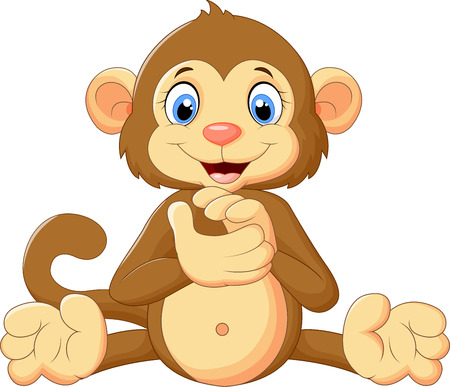 monkey cartoon: Cartoon cute monkey clapping his hands
