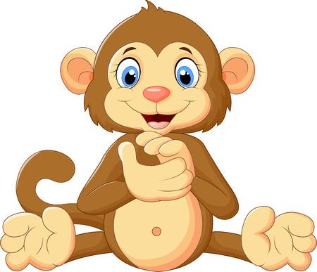 mono caricatura: Mono lindo de la historieta aplaudiendo