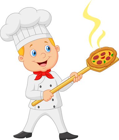 pastry chef: Cartoon of the little red bow holding the tool with bread bakery peel
