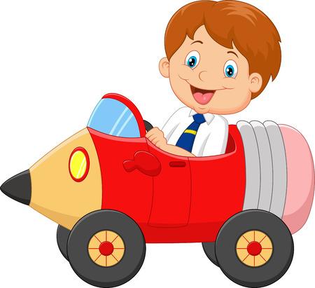 Cartoon boy driving a pencil car Illustration