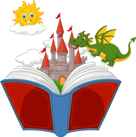 flying boat: Story book with cartoon  castle dragon and sun Illustration