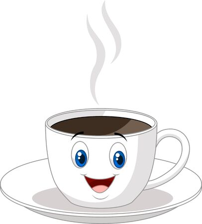 morning tea: Cartoon cup of coffee Illustration
