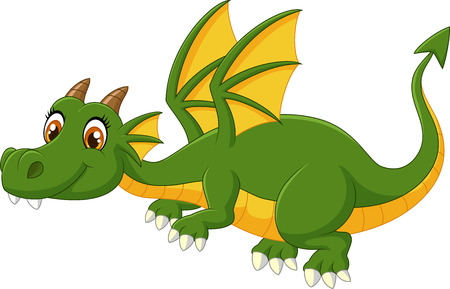 dragon fly: Cartoon green dragon flying