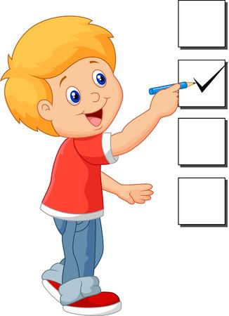 Cartoon boy with checklist Stock Photo