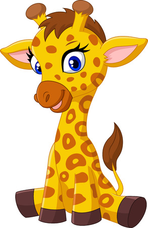 cartoon emotions: Cartoon baby giraffe sitting
