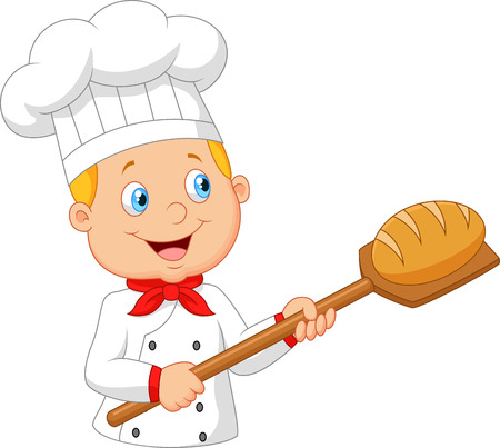 jobs cartoon: Cartoon baker holding bakery peel tool with bread Stock Photo