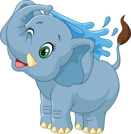 spraying: Cartoon elephant spraying water Stock Photo
