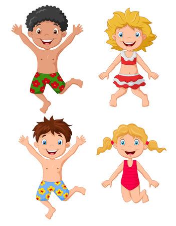 costume de bain: Des enfants heureux de bande dessinée portant saut de maillot de bain
