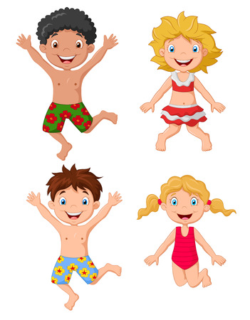 child swimsuit: Happy kids cartoon wearing swimsuit jumping