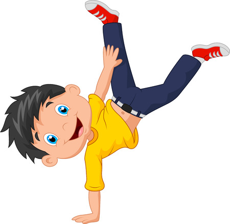 youthful: Cartoon boy standing on his hands