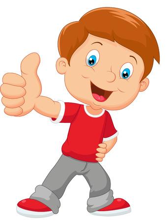 Cartoon kleine jongen geven duim omhoog