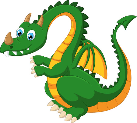 dinosaurs: Cartoon funny green dragon