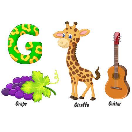 g giraffe: G alphabet cartoon