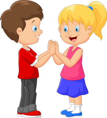 clapping: Cartoon children hand clapping games Stock Photo