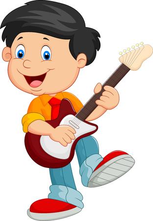 children play: Cartoon child play a guitar