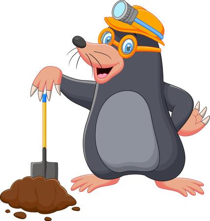 Cartoon mol met shovel Stockfoto