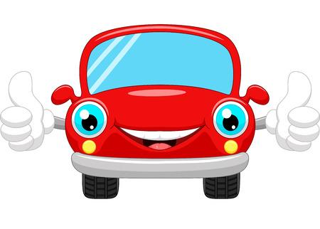 Cartoon car gives thumbs up Stock Photo