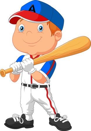 baseball cartoon: Cartoon kid playing baseball