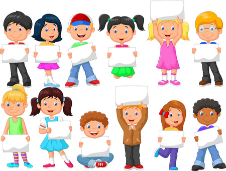 cartoon kids cartoon children with blank sign - Free Children Images