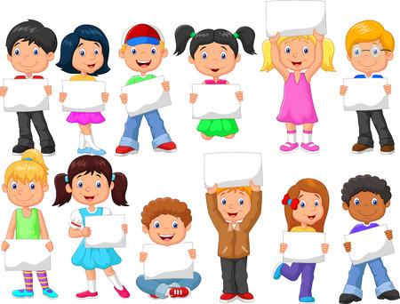 persona feliz: Los niños de la historieta con la muestra en blanco