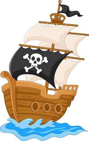 barco pirata: Cartoon barco pirata