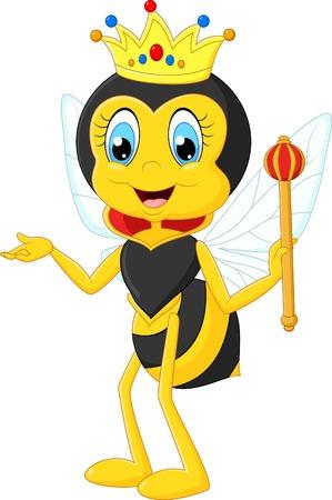 bee queen: Cartoon presentaci�n de la abeja reina Vectores